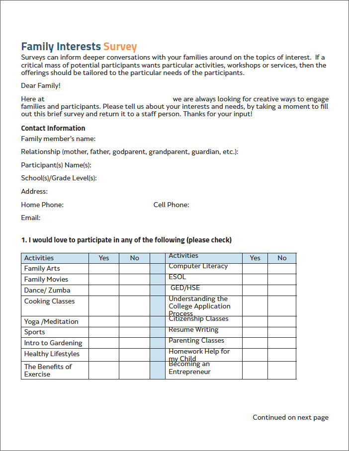 image of Family Interest Survey